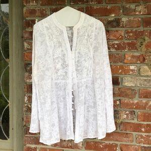Chico's sheer white long sleeve shirt